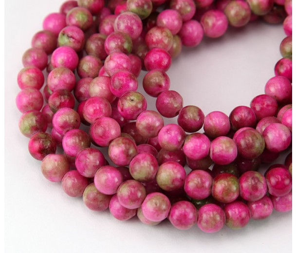 Bright Pink Mix Multicolor Jade Beads, 6mm Round