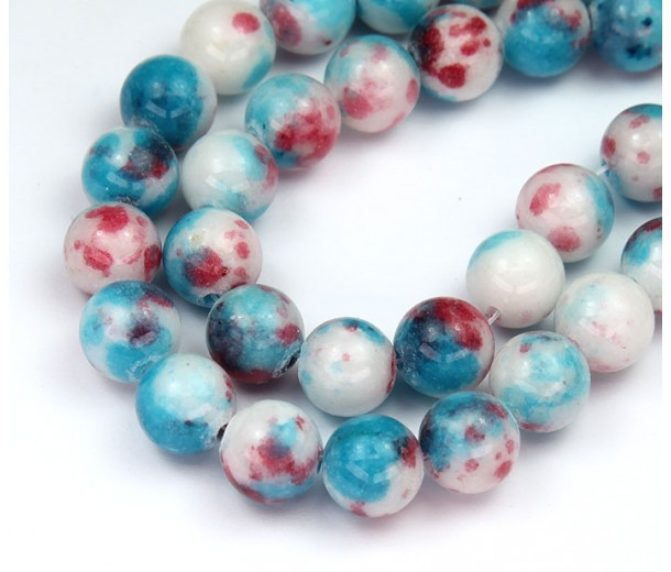 Light Blue and Red Multicolor Jade Beads, 10mm Round