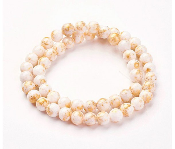 White with Gold Paint Mountain Jade Beads, 8mm Round