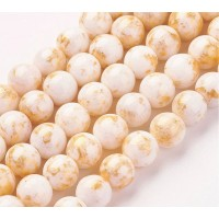 White with Gold Paint Mountain Jade Beads, 10mm Round