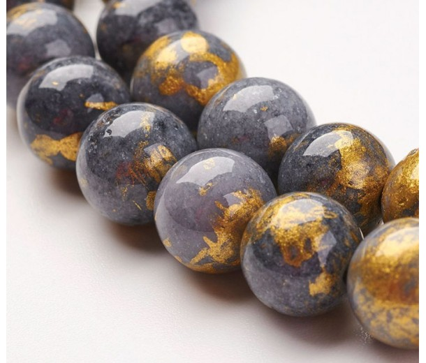 Grey with Gold Paint Mountain Jade Beads, 10mm Round