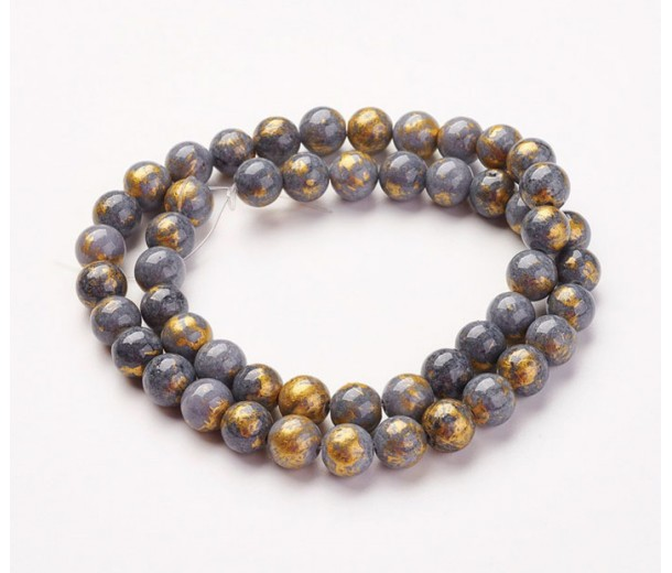 Grey with Gold Paint Mountain Jade Beads, 8mm Round