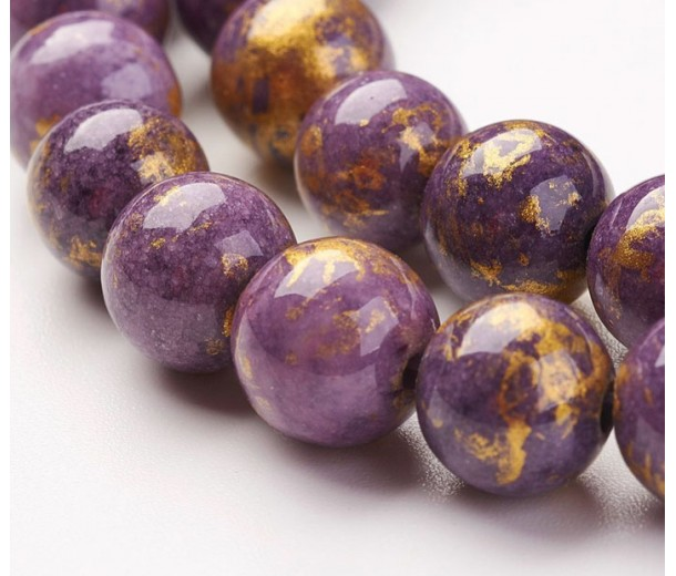Purple with Gold Paint Mountain Jade Beads, 8mm Round