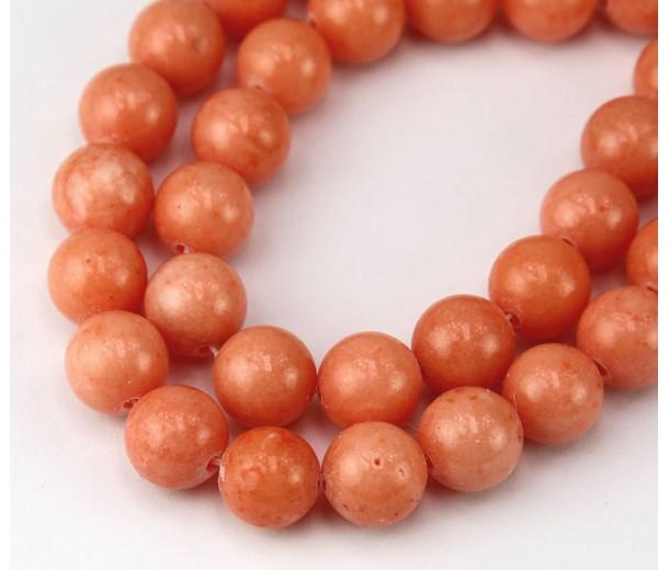 Peach Mountain Jade Beads, 10mm Round