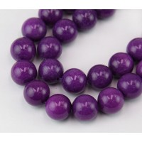 Purple Candy Jade Beads, 12mm Round