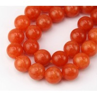 Orange Candy Jade Beads, 10mm Round