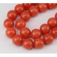Orange Candy Jade Beads, 12mm Round