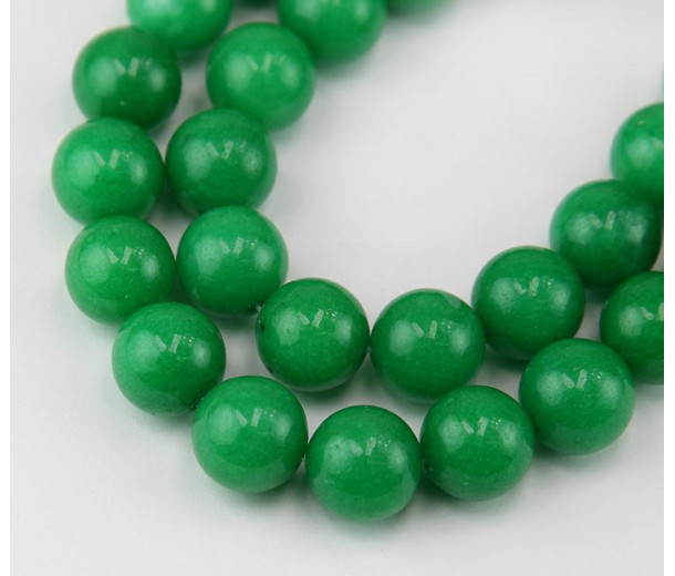 Green Candy Jade Beads, 12mm Round