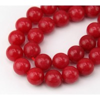 Red Candy Jade Beads, 10mm Round