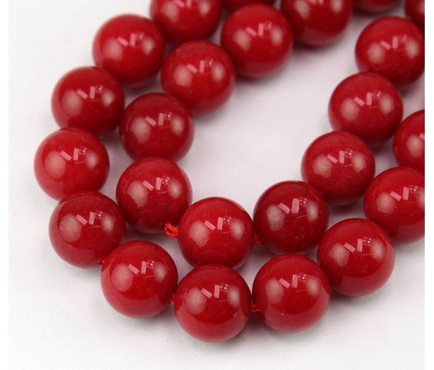Red Candy Jade Beads, 12mm Round
