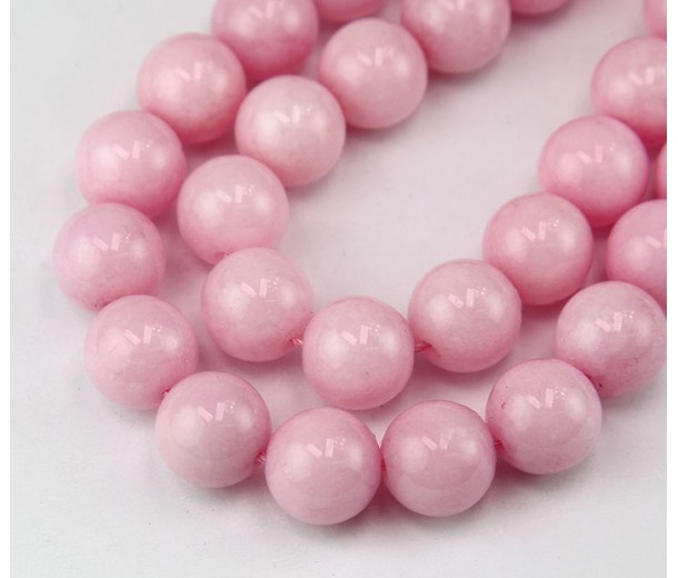 Rose Pink Candy Jade Beads, 12mm Round