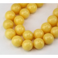 Light Yellow Candy Jade Beads, 12mm Round