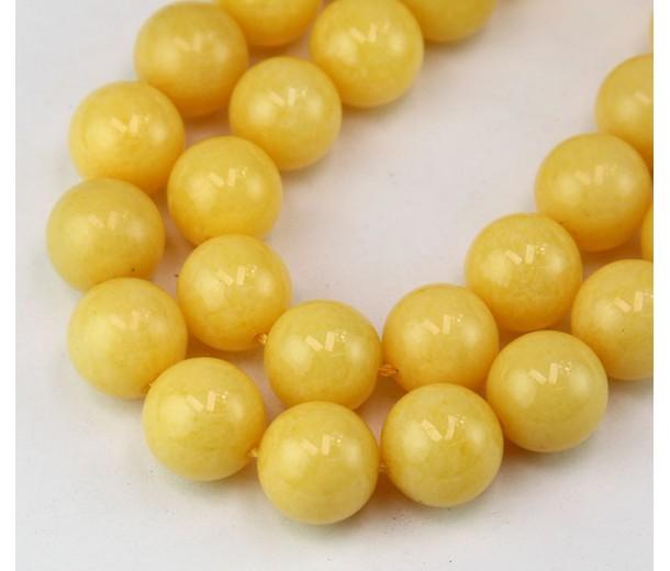 Light Yellow Candy Jade Beads, 12mm Round