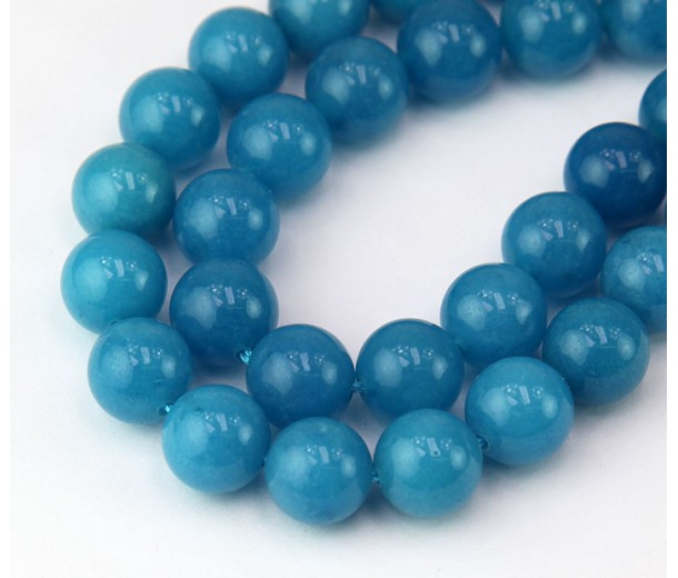 Blue Candy Jade Beads, 10mm Round