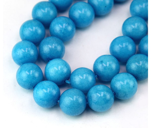 Blue Candy Jade Beads, 12mm Round