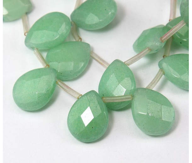Pastel Green Candy Jade Beads, 15x12mm Faceted Drop, Pack of 4 Beads