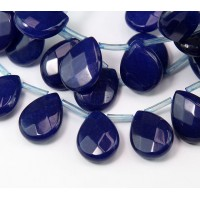 Dark Blue Candy Jade Beads, 15x12mm Faceted Drop