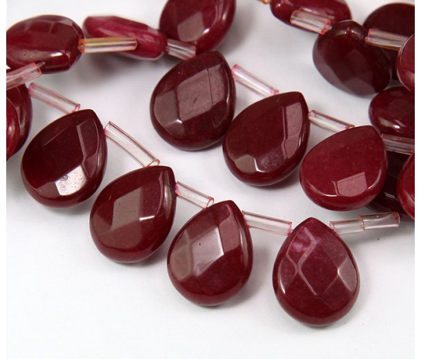 Dark Red Candy Jade Beads, 15x12mm Faceted Drop