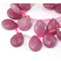 Mauve Pink Candy Jade Beads, 15x12mm Faceted Drop