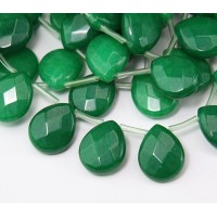 Dark Green Candy Jade Beads, 15x12mm Faceted Drop