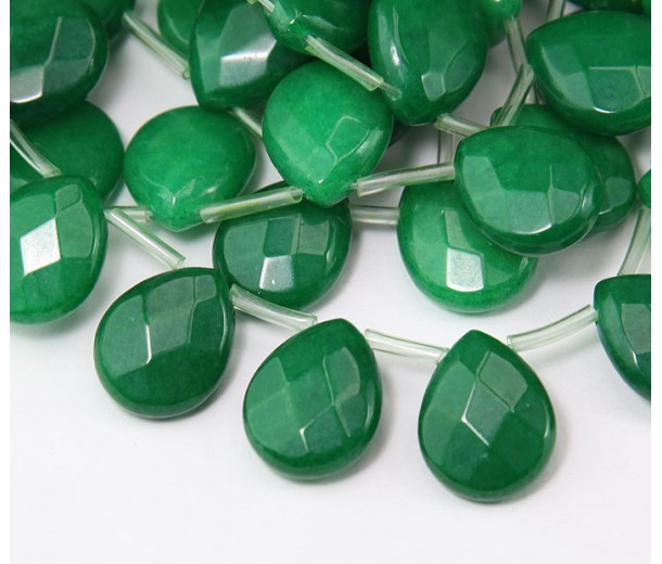 Dark Green Candy Jade Beads, 15x12mm Faceted Drop, Pack of 4 Beads