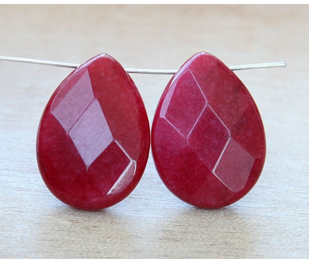 Dark Red Candy Jade Beads, 25x18mm Faceted Drop