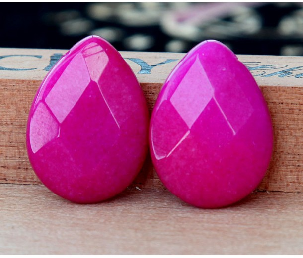 Medium Fuchsia Candy Jade Beads, 25x18mm Faceted Drop, Pack of 2 Beads
