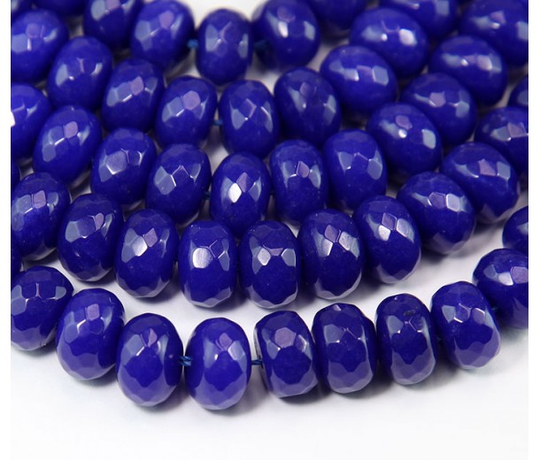 Cobalt Blue Candy Jade Beads, 12x8mm Faceted Rondelle