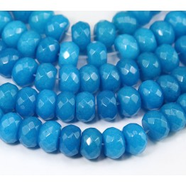 Sky Blue Candy Jade Beads, 12x8mm Faceted Rondelle