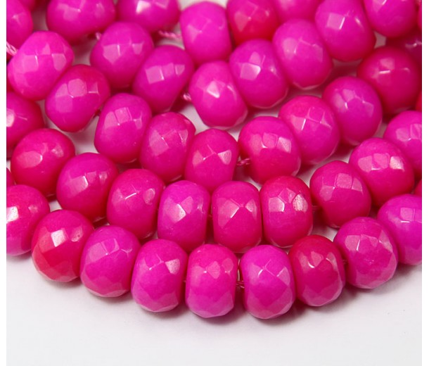 Barbie Pink Candy Jade Beads, 12x8mm Faceted Rondelle