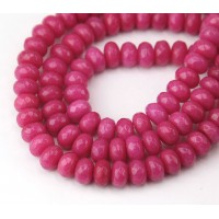 Light Fuchsia Candy Jade Beads, 8x5mm Faceted Rondelle