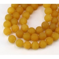 Honey Yellow Matte Jade Beads, 8mm Round