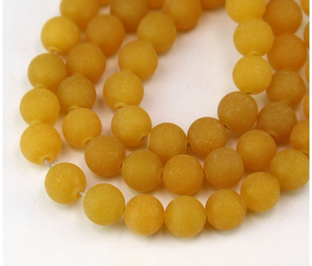 Honey Yellow Matte Jade Beads, 8mm Round