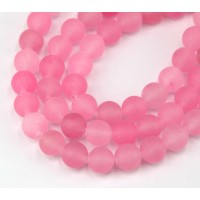 Hot Pink Matte Jade Beads, 8mm Round