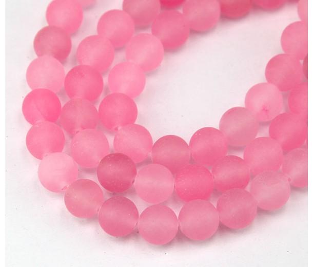 Hot Pink Matte Jade Beads, 8mm Round