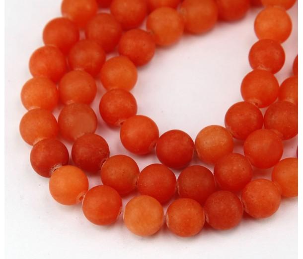 Bright Orange Matte Jade Beads, 8mm Round