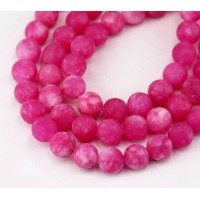 Barbie Pink Matte Jade Beads, 8mm Round