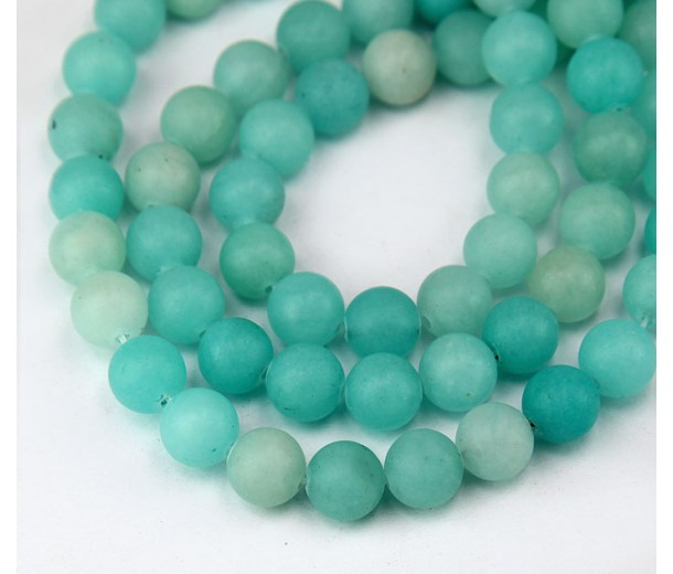 Bluegreen Mountain Jade Beads, 8mm Round
