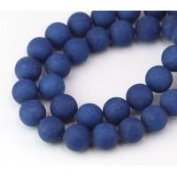 Dark Blue Matte Jade Beads, 10mm Round