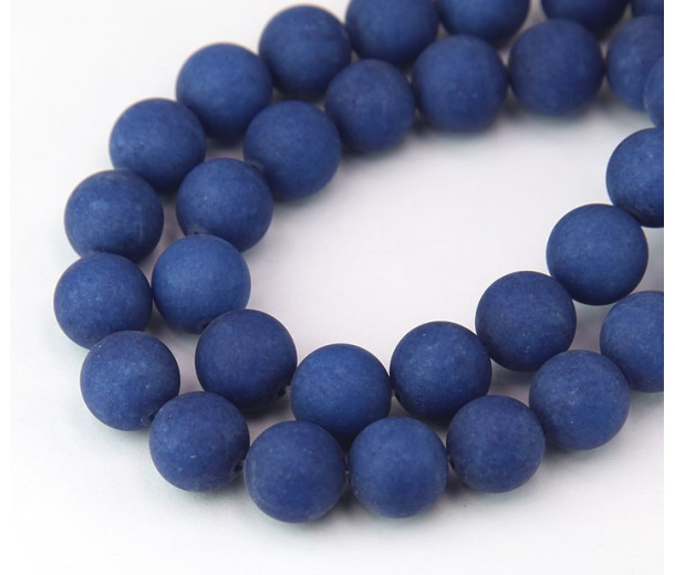 Dark Blue Matte Jade Beads, 10mm Round