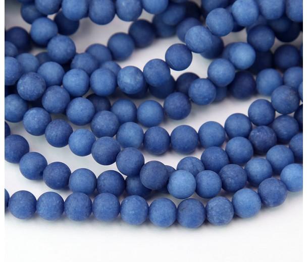 Dark Blue Matte Jade Beads, 6mm Round