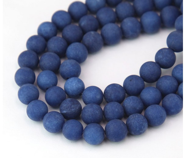 Dark Blue Matte Jade Beads, 8mm Round
