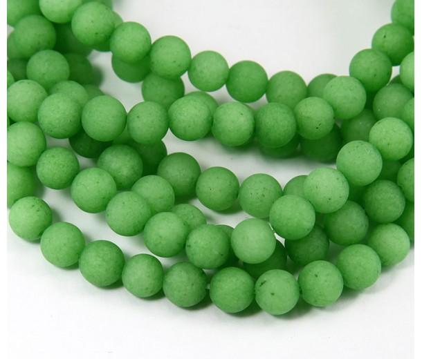 Grass Green Matte Jade Beads, 6mm Round