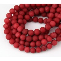 Red Matte Jade Beads, 6mm Round