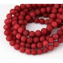 Red Matte Jade Beads, 6mm Round