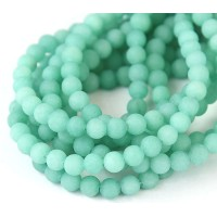 Aqua Matte Jade Beads, 6mm Round