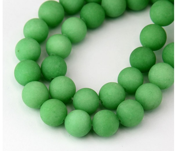 Grass Green Matte Jade Beads, 10mm Round