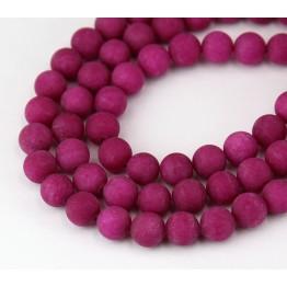 Fuchsia Matte Jade Beads, 8mm Round