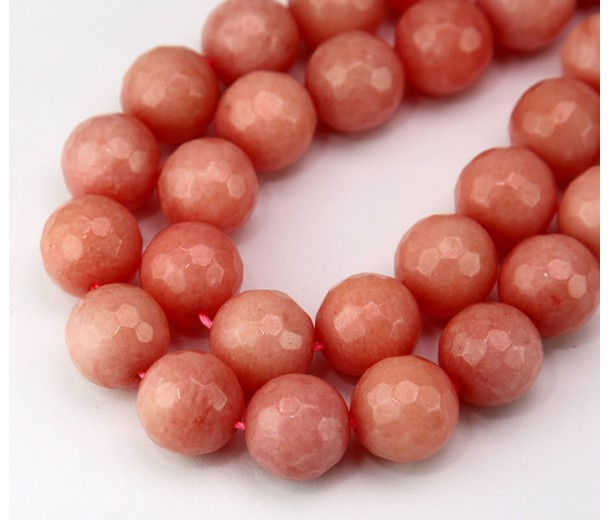 Carnation Pink Candy Jade Beads, 12mm Faceted Round