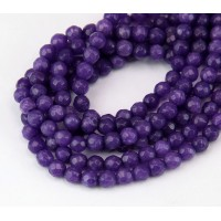Purple Candy Jade Beads, 4mm Faceted Round